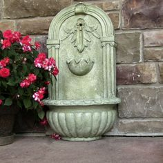 French Limestone Outdoor Solar On Demand Florence Garden Wall Water Fountain New