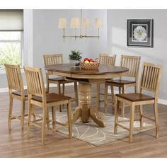 Sunset Trading Brookdale 7 Piece Oval Counter Height Table Set with Brookdale Stools - SET575-1