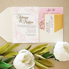 Formal filigree custom letterpress wedding invitations with pocket folder