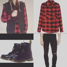 CustomDesignNine.com #Blackskinnyjeans, #Denimvest, #Docmartens, #Fashion, #Grunge, #Grungefashion, #Grungeoutfit, #Guysfashion, #Idol, #Inspiration, #Plaidshirts, #Punkfashion, #Punkrock, #Punkrockoutfit, #Rockerboots, #Rockerstyle, #Rocknroll, #Rocknrollforever, #Tattedhoosier