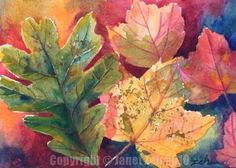 Painting Autumn Leaves in Watercolor by Janet Zeh