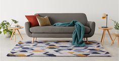 Ava Geometric Hand Tufted Wool Rug, Large 160 x Tonal Blue Large Rugs, Grey Rugs, Rugs In Living Room, Wool Rug, Home Furnishings, Home Accessories, Cushions, Interior Design, Ava