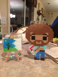 Bob Ross perler bead design Perler Bead Designs, Easy Perler Bead Patterns, Melty Bead Patterns, Perler Bead Templates, Hama Beads Design, Diy Perler Beads, Perler Bead Art, Pearler Beads, Beading Patterns