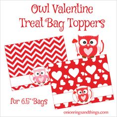 Valentine's day free printables - owl treat bag toppers