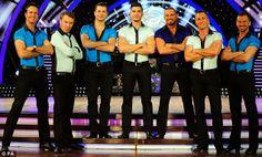The boys in blue: (Left-Right) Michael Vaughan, Phil Tufnell, Pasha Kovalev, Louis Smith, Robin Windsor, James Jordan and Artem Chigvintsev
