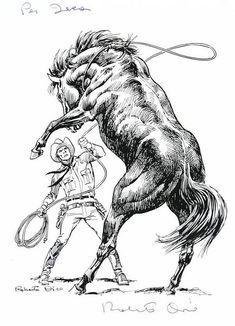 Roberto Diso the master of horses Horse Drawings, Cartoon Drawings, Art Drawings, Western Crafts, Western Art, Hippo Drawing, Horse Stencil, Western Tattoos, Indian Drawing