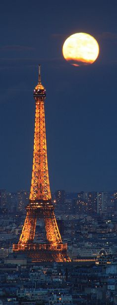 //Full moon, Eiffel Tower ~ Paris, France #travel #places #photography