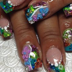 Don't know if I would ever get these, but they are fun to look at! by DeeDeeBean Fabulous Nails, Gorgeous Nails, Pretty Nails, Nail Art Designs, Nailart, Finger, Exotic Nails, Claw Nails, Funky Nails