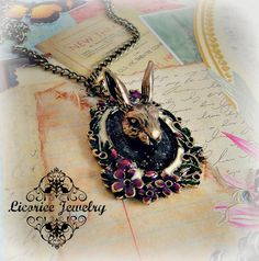 Fairytale Rabbit Faux Taxidermy  Antiqued Cameo Necklace bunny shabby chic alice in wonderland kawaii pinup kitsch