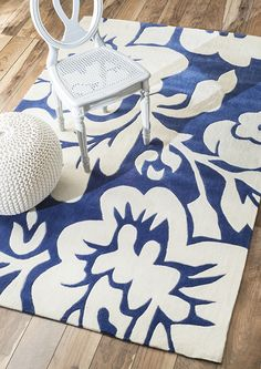Rugs USA Keno Bold Floral Royal Blue Rug. Rugs USA Labor Day Sale up to 80% Off! Area rug, rug, carpet, design, style, home decor, interior design, pattern, trends, home, statement, fall, cozy, sale, discount, interiors, house, free shipping, blue.