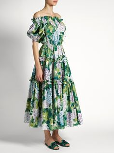 Dolce & Gabbana Hortensia-print off-the-shoulder tiered dress