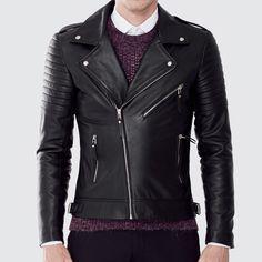 Men's Biker Jacket - Black Leather