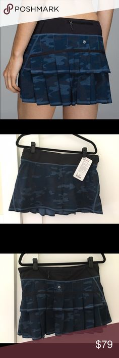 """Lululemon Pacesetter skirt blue Camo NEW! Brand new with tags  -pet free, smoke free home  -🙅🏼no trades -🙅🏼please, no price talk in the comments. Use the """"offer"""" button. Reasonable offers considered! lululemon athletica Skirts Mini"""