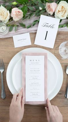 Simple menu with no color accents so we can use the napkins under it for the color effect. Table cloth would be cream/off white and rose pink napkins. Wedding Invitation Background, Acrylic Wedding Invitations, Simple Wedding Invitations, Wedding Napkins, Elegant Wedding Invitations, Wedding Stationary, Ribbon Wedding, Wedding Place Settings, Wedding Menu Cards