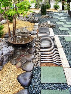 Japanese Gardens - more roof tile drainage