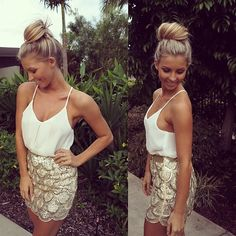 Gold embellished skirt and white top