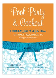 This Blue Hawaii Pool Party Invitation from Lola Lorena is an outstanding addition to a bringing in the summer pool party...