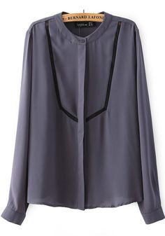 Dark Purple Patchwork Grenadine Band Collar Long Sleeve Chiffon Blouse