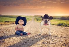 Lil cowboy baby and bulldog taking the wild west by storm! So Cute Baby, Baby Love, Cute Kids, Cute Babies, Adorable Dogs, Cowboy Baby, Animals For Kids, Cute Animals, Baby Animals