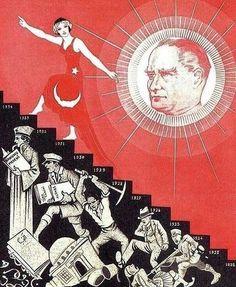 Turkish secularist propaganda (Turkey, more like Zionist Prop Republic Of Turkey, The Republic, Turkish Soldiers, Turkish People, Propaganda Art, Coffee Poster, Illustrations, Ottoman Empire, Old Pictures