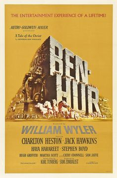 Ben-Hur Director: William Wyler Drama film/Action - 1959 Awards: Academy Award for Best Picture, more With Jack Hawkins, Stephen Boyd, a cast of thousands and the greatest chariot race ever put on film. Classic Movie Posters, Classic Movies, Film Posters, Old Movies, Vintage Movies, Love Movie, Movie Tv, Course De Chars, Vintage Posters