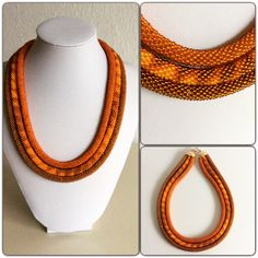 Necklace made of czech beads in bead crochet technique