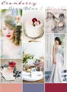 THIS colour scheme, absolutely. Cranberry, Grey-Blue, Blush | Wedding Inspiration: Wedding Colours