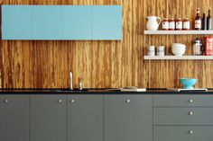 turquoise, grey and modern wood