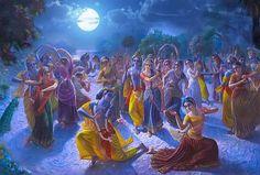 Maha Raas symbolizes the divine play between Purusha(Man) and Prakriti(Nature) whereas Purusha is one (Lord Krishna) but Prakriti has countless varied forms. Krishna Gif, Krishna Songs, Krishna Leela, Radha Krishna Wallpaper, Lord Krishna Images, Radha Krishna Pictures, Radha Krishna Photo, Krishna Love, Radhe Krishna