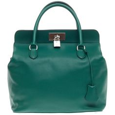 Pre-Owned Hermes Toolbox Swift 33 ($6,385) ❤ liked on Polyvore featuring bags, handbags, green, hermes handbags, blue purse, handbags totes, tote handbags and tote purse