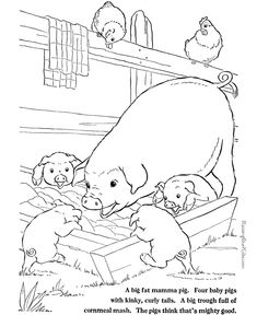 These free printable coloring book pages of farm animals - Pigs to print and color Farm Animal Coloring Pages, Free Adult Coloring Pages, Coloring Pages To Print, Free Printable Coloring Pages, Coloring Book Pages, Coloring Pages For Kids, Colorful Drawings, Farm Animals, Soy Allergy