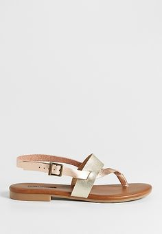 rani two tone strap sandals in metallic combo | maurices