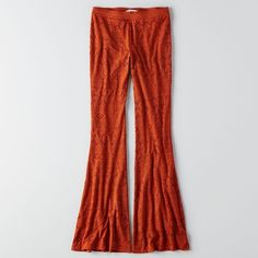 AEO Lace Flare Pants ($45) ❤ liked on Polyvore featuring pants, heritage orange, stretch flare pants, lace flare pants, flared pants, lace pants and american eagle outfitters pants