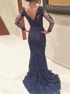 8ca1261195 Long Sleeve Custom Navy Lace V-neck Mermaid Simple Formal Evening Prom Dress