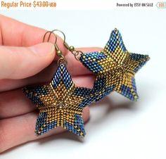 Cobalt Blue Star Earrings by HeriniaJewelry on Etsy