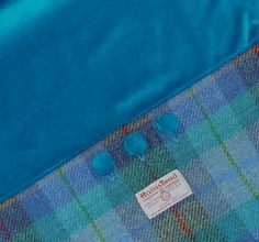 Turquoise check Harris Tweed  & Velvet Cushion from Harris Tweed Boutique www.harristweedboutique.com
