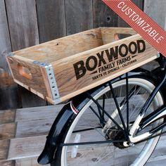 Custom Reclaimed Wood Bike Crate by The Inkorporated Crate Co. on Scoutmob Shoppe Rear Bike Basket, Bicycle Basket, Bicycle Panniers, Hobby Shops Near Me, Wood Bike, Velo Vintage, Hobbies For Kids, Hobby Kits, Wood Crates