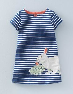 Stripy Appliqué Jersey Dress (Imperial Blue Bunnies)
