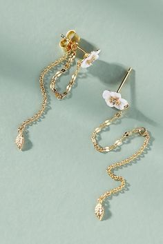 Slide View: 1: Floral Chained Front-Back Earrings