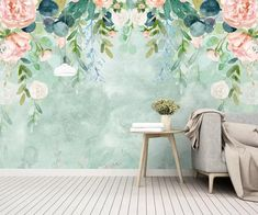 Modern Simple Garden Watercolor Wallpaper Wall Mural, Pink Flowers with Green Leaves Garden Wallpaper Wall Mural Wall Decor - Garden Care, Garden Design and Gardening Supplies Garden Wallpaper, Wall Wallpaper, Leaves Wallpaper, Paper Wallpaper, Photo Wallpaper, Pretty Flowers, Pink Flowers, Cartoon Flowers, Watercolor Wallpaper
