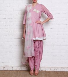 Onion Pink Angrakha Suit With Patiala Salwar=Sanskriti Short pink crushed cotton angrakha kurta with patiala salwar. The suit and dupatta have white floral embroidery.