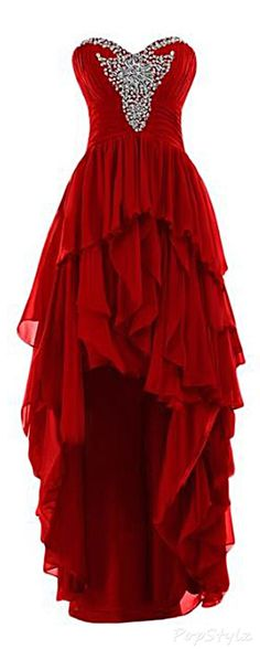 Cute red chiffon high low prom dress for teens, ball gown 2016