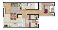 Layout prédio B - 44 m²