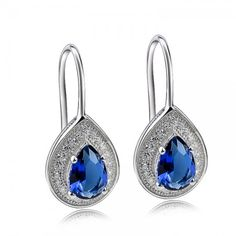 Tanzanite Blue Silver Teardrop Earrings -  What a lovely color these AAA CZ gems are - simply stunning. More Earrings at Affici.com