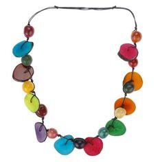 Halskette Chips und Balls, Tagua, multicoloured