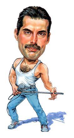 """Queen-Freddie Mercury """"Killer Queen"""" Caricature Rock Sticker Or Magnet Art Prints, Celebrity Caricatures, Cartoon Faces, Caricature, Rock And Roll, Music Artists, Caricature Drawing, Art, Music Art"""