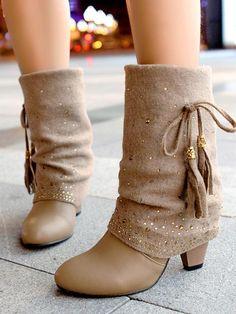 812002caaca00 New Apricot Round Toe Chunky Fashion Mid-Calf Boots