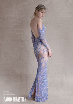 PSS/S1507 - Sleeved tulle gown with cut-out detailing
