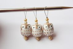 Stitch Markers  Three Little Owls by Lacunacoiled on Etsy, $3.75