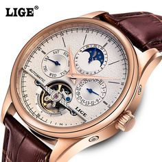 LIGE Men's Watches Six-pin Moon phases Automatic Watch Men Dive 50M Fashion Casual Leather Wristwatches relogio masculino     Tag a friend who would love this!     FREE Shipping Worldwide     Get it here ---> https://www.greatdealbazar.com/product/lige-mens-watches-six-pin-moon-phases-automatic-watch-men-dive-50m-fashion-casual-leather-wristwatches-relogio-masculino/